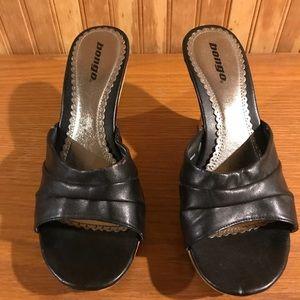 133045b48ffe Bongo Black wedged open-toe heels